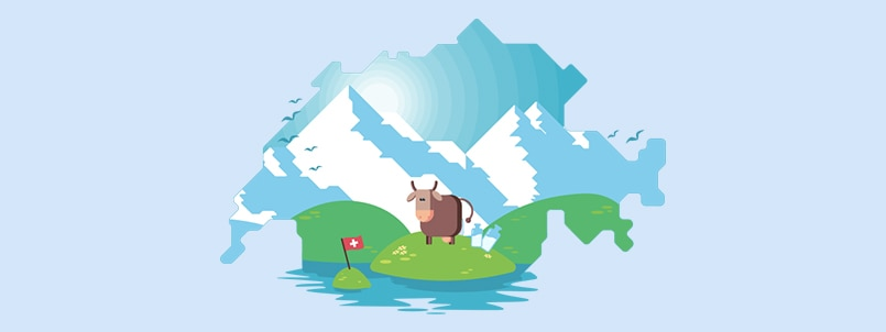 Switzerland Map Local Cow Mountains